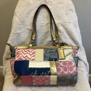 Coach Patchwork Bag /Tote /Purse w/ Bronze Detail